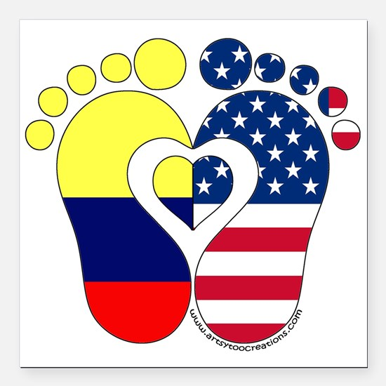 """Colombian American Baby Square Car Magnet 3"""" x 3"""""""