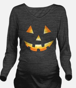 Pumpkin Face Halloween Long Sleeve Maternity T-Shi