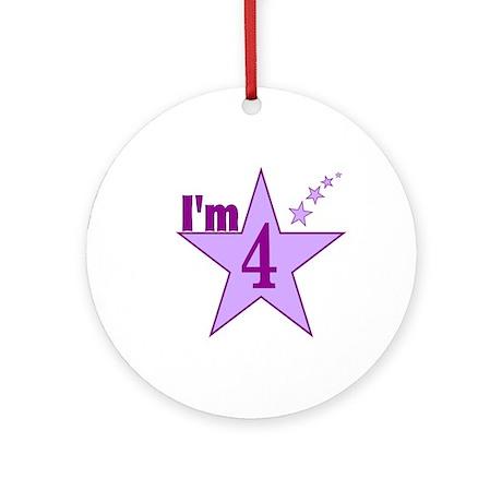 I'm 4 Girls Birthday Ornament (Round)