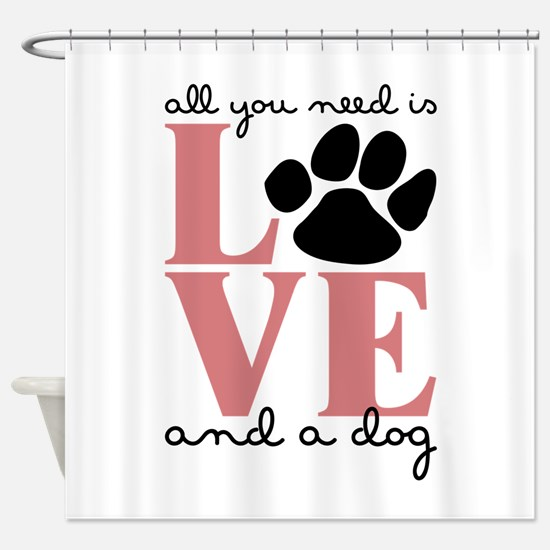 Love And A Dog Shower Curtain
