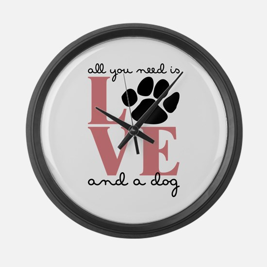 Love And A Dog Large Wall Clock