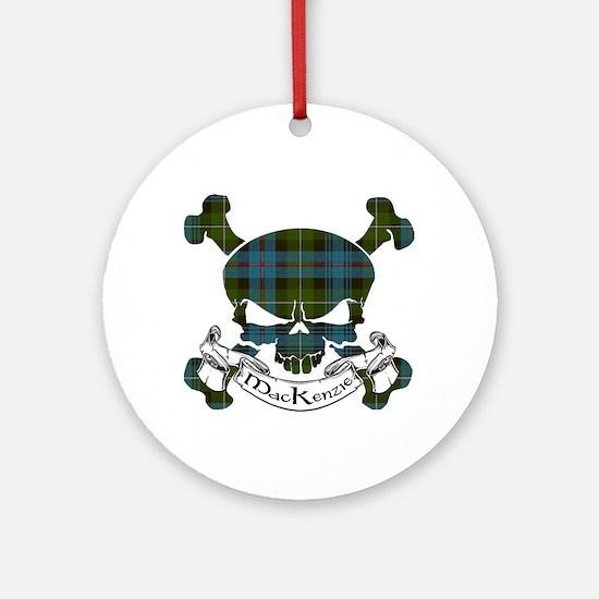 MacKenzie Tartan Skull Ornament (Round)