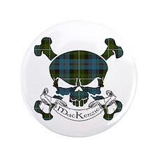 "MacKenzie Tartan Skull 3.5"" Button"