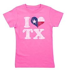 I heart Texas Flag TX Girl's Tee