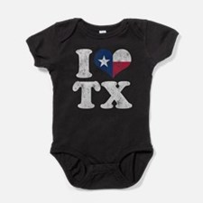 I heart Texas Flag TX Baby Bodysuit