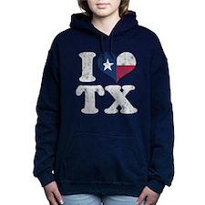 I heart Texas Flag TX Women's Hooded Sweatshirt
