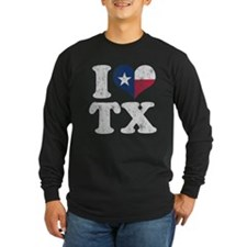 I heart Texas Flag TX Long Sleeve T-Shirt