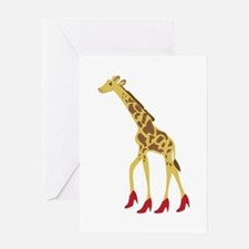 Heeled Giraffe Greeting Cards