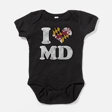 I heart Maryland Flag MD Baby Bodysuit