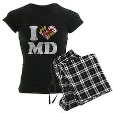I heart Maryland Flag MD Pajamas