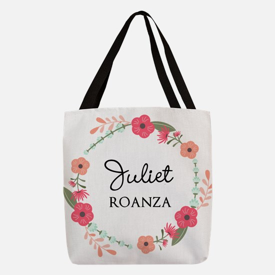 Flower Wreath Name Monogram Polyester Tote Bag