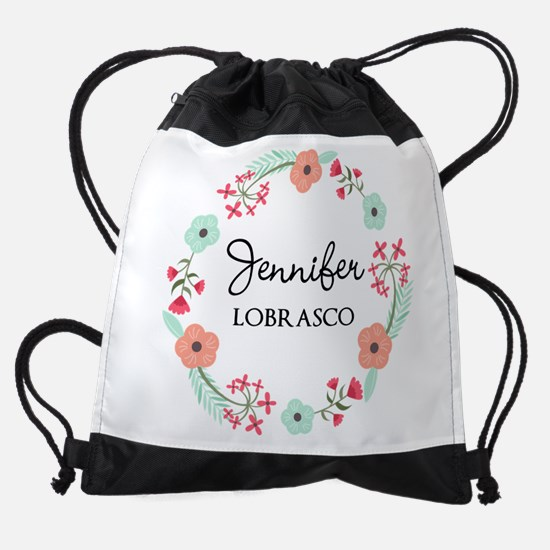 Personalized Floral Wreath Drawstring Bag