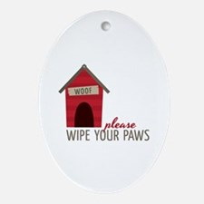 Wipe Your Paws Ornament (Oval)