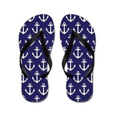 Anchor Nautical Navy Blue Flip Flops