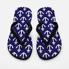 Anchor Nautical Navy Blue Flip Flops