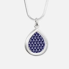Anchor Nautical Navy Blu Silver Teardrop Necklace