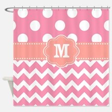 Pink Coral Dots Chevron Monogram Shower Curtain