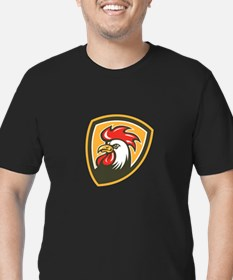 Chicken Rooster Head Mascot Shield Retro T-Shirt