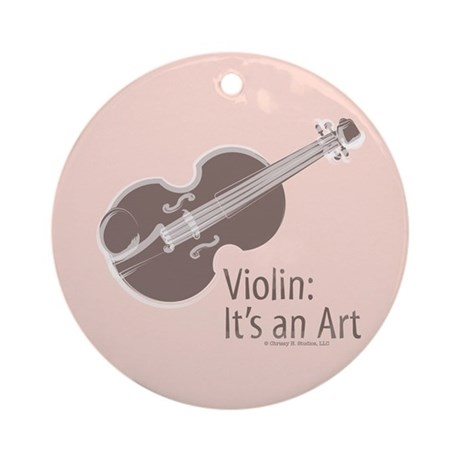 Violin It's An Art Pink Brown Ornament (Round)