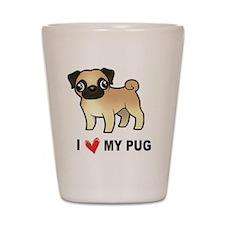 I Love My Pug Shot Glass