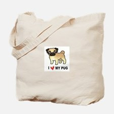 Cute I love pugs Tote Bag