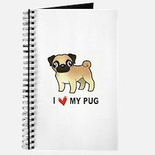 Unique I love pugs Journal