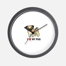 Unique I love pugs Wall Clock