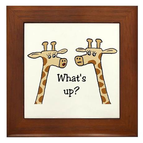 What's up? Giraffe Framed Tile