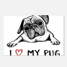 Cute I love my pug Postcards (Package of 8)