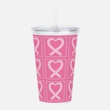 breast cancer pink hea Acrylic Double-wall Tumbler