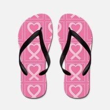 breast cancer pink heart Flip Flops