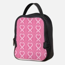 breast cancer pink heart Neoprene Lunch Bag