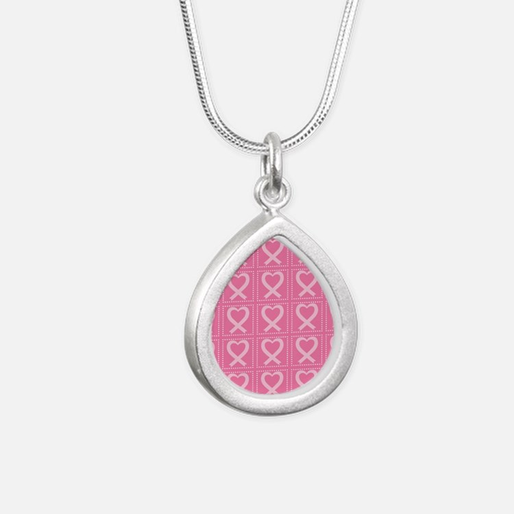 breast cancer pink heart Silver Teardrop Necklace