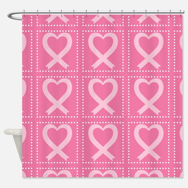 breast cancer pink heart Shower Curtain