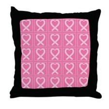 breast cancer pink heart Throw Pillow