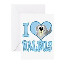 I Love (Heart) Walrus Greeting Cards (Pk of 10