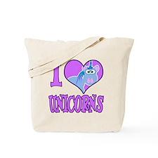 I Love (Heart) Unicorns Tote Bag