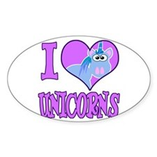 I Love (Heart) Unicorns Oval Decal