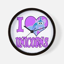 I Love (Heart) Unicorns Wall Clock