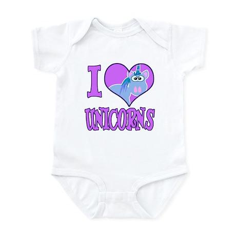 I Love (Heart) Unicorns Infant Bodysuit