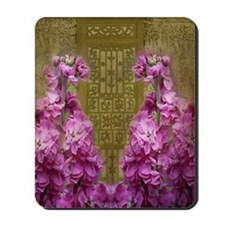 Antique Door with Violet Flowers Mousepad