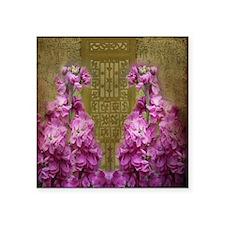"Antique Door with Violet Fl Square Sticker 3"" x 3"""
