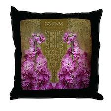 Antique Door with Violet Flowers Throw Pillow