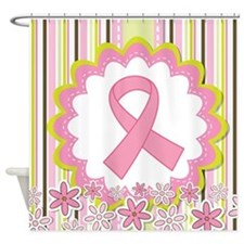 Breast Cancer Heart Ribbon Shower Curtain