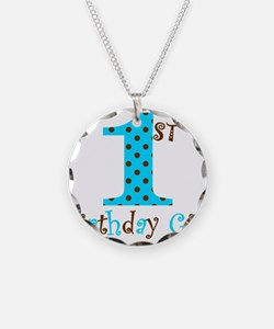 1st Birthday Girl Teal and Brown Necklace