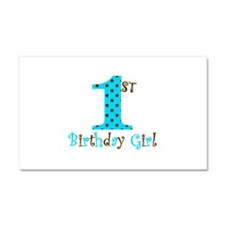1st Birthday Girl Teal and Brown Car Magnet 20 x 1