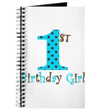 1st Birthday Girl Teal and Brown Journal