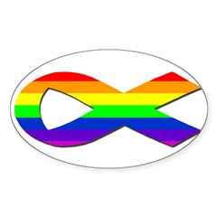 Rainbow Ribbon Oval Decal