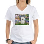 Lilies (#2) & Bolognese Women's V-Neck T-Shirt