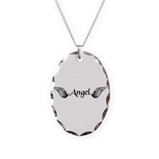 Angel Wings Necklace Oval Charm